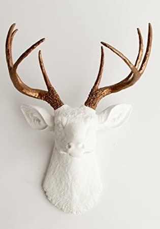 Bon White Faux Taxidermy The Lydia White Deer Head With Bronze Metallic Antlers  Wall Decor
