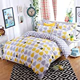 FY SIngle Size Cotton Blend 3 pieces Yellow Grap Pear For Teens Boys Girls Prints Duvet Cover Sets (Twin 1duvet Cover+2pillowcases)