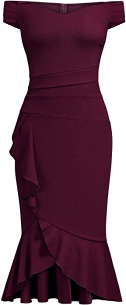 Off Shoulder V-Neck Ruffle Pleat Waist Bodycon Evening Cocktail Slit Formal Dress