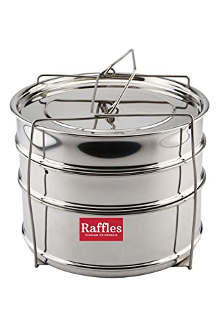 Raffles Premium SS Cooker Separator H6.5 Suitable for 5 litres Pigeon Outer Lid Pressure Cookers (3 Containers with Lifter, Stainless Steel)