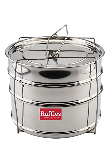 Raffles Premium SS Cooker Separator H6.5 Suitable for Hawkins Futura Stainless Steel Inner-Lid Pressure Cooker, 5.5 litres (Model No. F56) (3 Containers with Lifter, Stainless Steel)