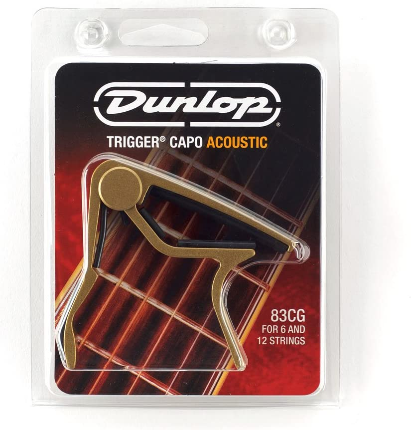 Gold /& 12-String Acoustic Guitar New Dunlop 83CG Curved Trigger Capo for 6