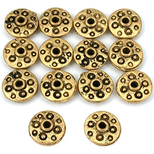 15g Fluted Saucer Beads Antq Gold Plated 11mm Approx 14 ()