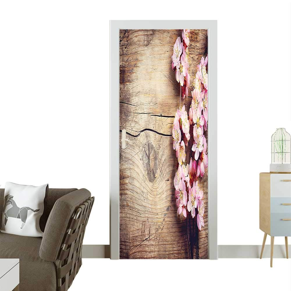 Door Sticker Wall Decals Blossom Wooden Table Romantic Farmhouse Style Home ati Bro Easy to Peel and StickW35.4 x H78.7 INCH