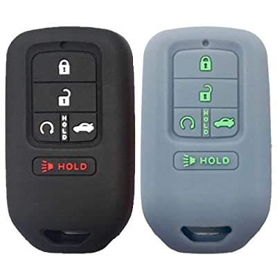 KOSMIQ 2Pcs Smart Key Fob Skin Cover Case Jakcet Shell Bag Protector for 2020 2020 2020 2020 2016 2015 Honda Accord Civic CR-V CRV Pilot EX-L Touring Premium Black Purple (Black+LightGray): Sports & Outdoors