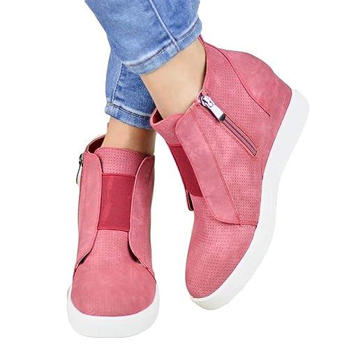 a1d698c49291 Basket Femme Compensées Plateforme Bottes Talon Cuir Bottines Cheville  Hiver Chaussure de Sport Western Ankle Boots