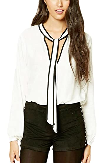 7be1906000678 Jumojufol Women s Elegant Deep V-Neck Pussy Bow Knot Chiffon Top T Shirt  Blouse at Amazon Women s Clothing store