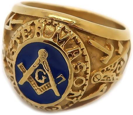 Chevali/ère Bague Franc-Ma/çonnerie Ma/ître Ma/çonnique Dor/é /à lor Fin Bleu Acier BOBIJOO Jewelry