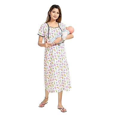 7b62852ddf PIU New Mix Cotton Cartoon Print Feeding Nighty   Nightdress   Night Gown    Feeding Gown V neckline   Maternity ...