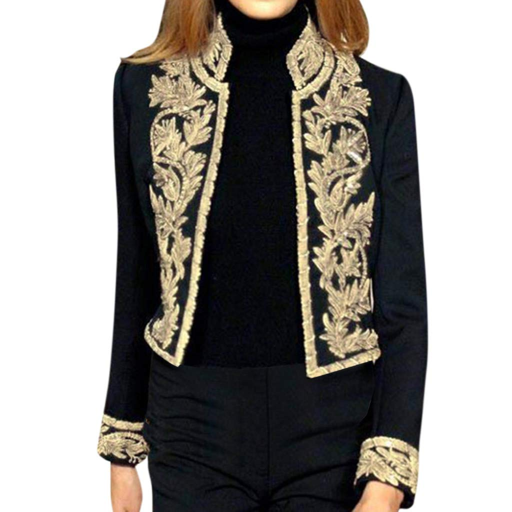 Armfre Tops Womens Victorian Steampunk Ringmaster Jacket Vintage Floral Embroidered Military Stand Collar Blazer Open Front Cardigans Suit Casual Office