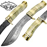 Camel Bone 13'' Fixed Blade Custom Handmade Damascus Steel Kukri Hunting Knife Double Brass Bolster Spacers Unique Beautiful File Work On Handel Come with Leather Sheath 100% Prime Quality
