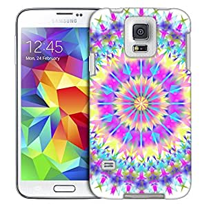 Samsung Galaxy S5 Case, Slim Fit Snap On Cover by Trek Mandala Colorful Triangluar on White Trans Case