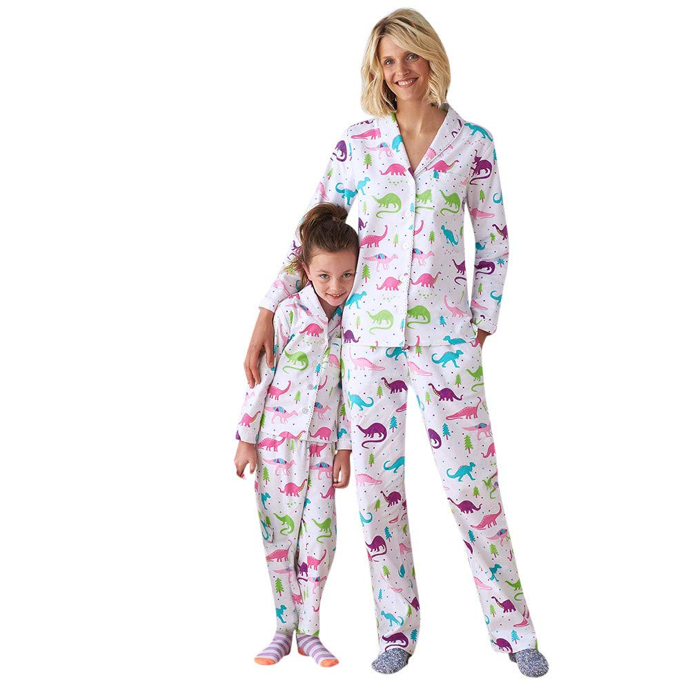 AutumnFall 2018 New Style Family Christmas Dinosaur Print Pajamas Set for Kids Baby Girls Boys Women Winter Clothes (Size:S, Women)