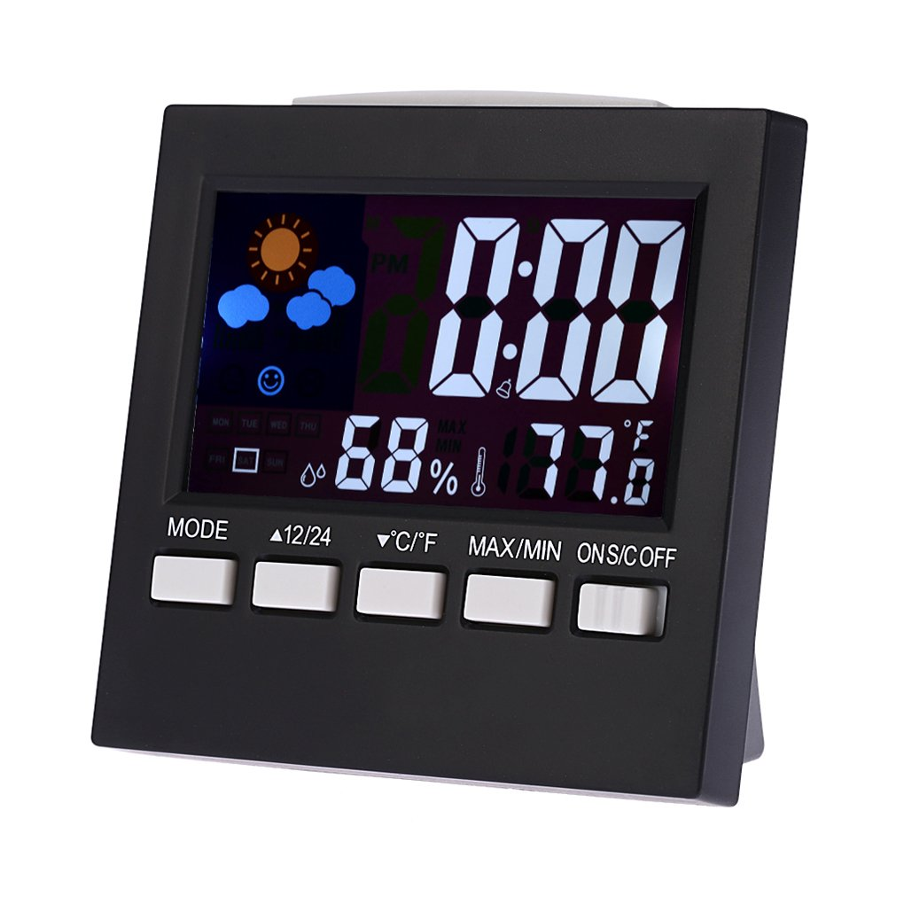 Multifonctionnel Num/érique Color/é LCD Thermom/ètre Hygrom/ètre Horloge Alarme Snooze Fonction Calendrier Pr/évisions M/ét/éo Regard