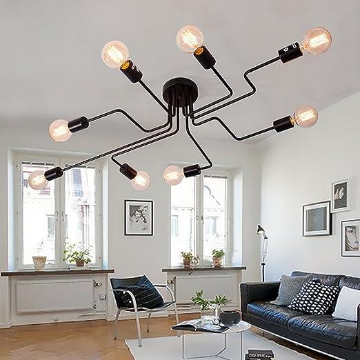 Retro Industrielle Vintage Kronleuchter Metall Schwarz Deckenleuchte  Deckenlampe Mit 8 Flammig Lampe Für E27 Esszimmer Schlafzimmer Wohnzimmer:  Amazon.de: ...