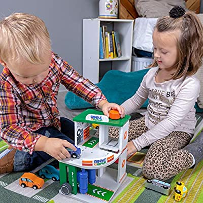Imagination Generation Rinse & Repair Car Wash and Service Station   2-in-1 Wooden Playset with Car Wash, Working Elevator, and Ramp   Includes 2 Colorful Toy Cars: Toys & Games