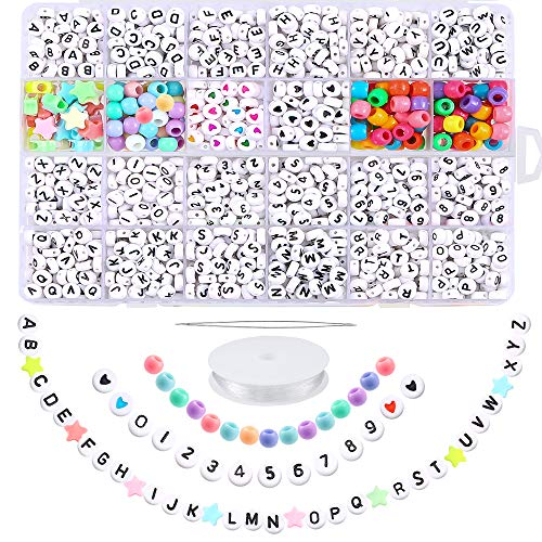 PP OPOUNT 2155 Pieces Acrylic Letter Beads A-Z Letter and 0-9 Number Beads Round Alphabet Letter Beads for Bracelets Necklaces Jewelry Making