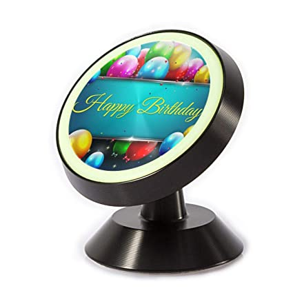 Magnetic Car Phone Holder Happy Birthday Balloons 360 Degree Rotating Stand Grip Mount For IPhone X