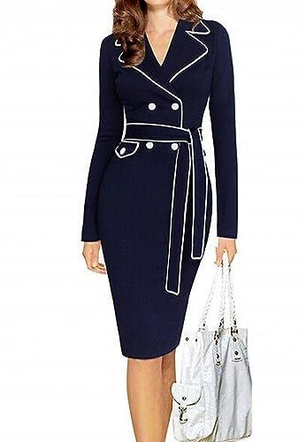 Babyonline Women's Long Sleeve V neck Wear to Work Office Midi Bodycon Dress