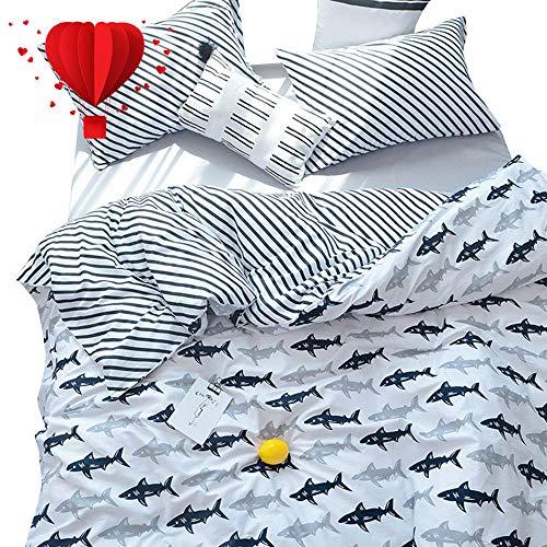 BuLuTu Navy Blue/Grey Shark Print Pattern Cotton US Queen Be