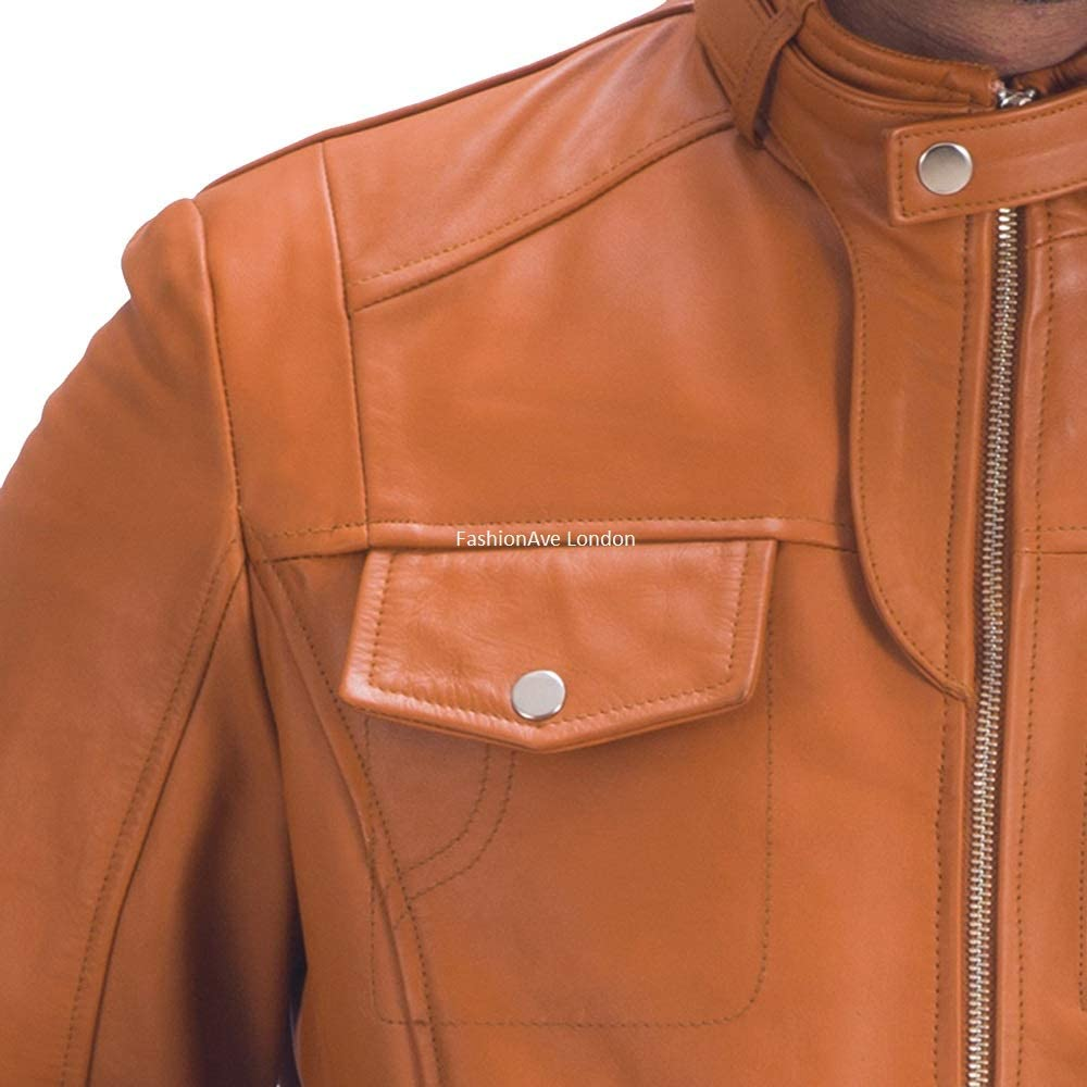 FashionAve London Mens Tan Brown Belted Collar Real Leather Jacket