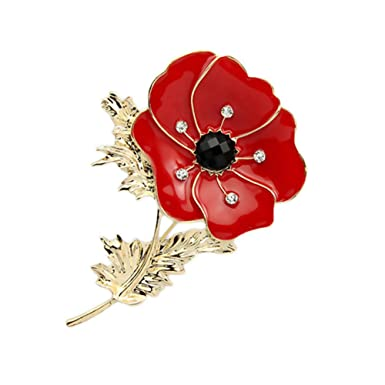 Large red remembrance poppy pin brooch banquet crystal badge gold large red remembrance poppy pin brooch banquet crystal badge gold flower gift mightylinksfo
