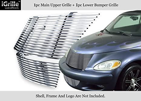 304 Acero inoxidable Billet Grille Grill Combo Compatible con 00 – 05 Chrysler PT Cruiser #