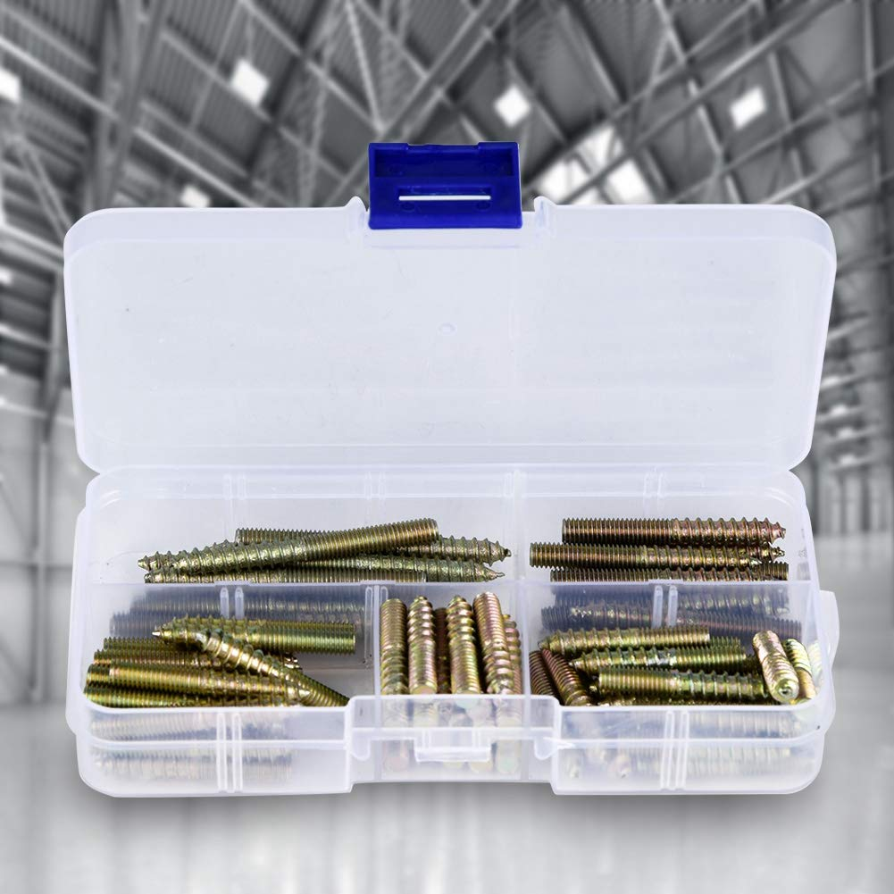 M5 x 45mm Steel Wood To Metal Dowels Hanger Bolts Dual Thread Screws Furniture