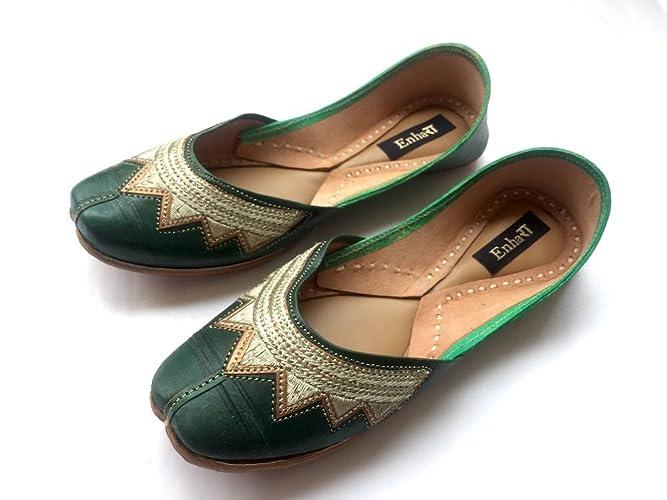 ba45de2f25dff5 Amazon.com  Bottle Green Leather Indian Ballet Flats for Women -Designer  Women Shoes or Slippers Maharaja Style Women Jooties  Handmade