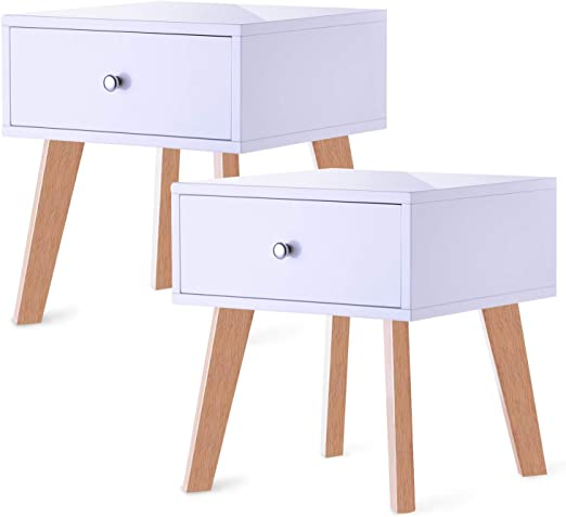 Taohfe Nightstand White Bedside Table With Drawer Set Of 2 Furniture Decor