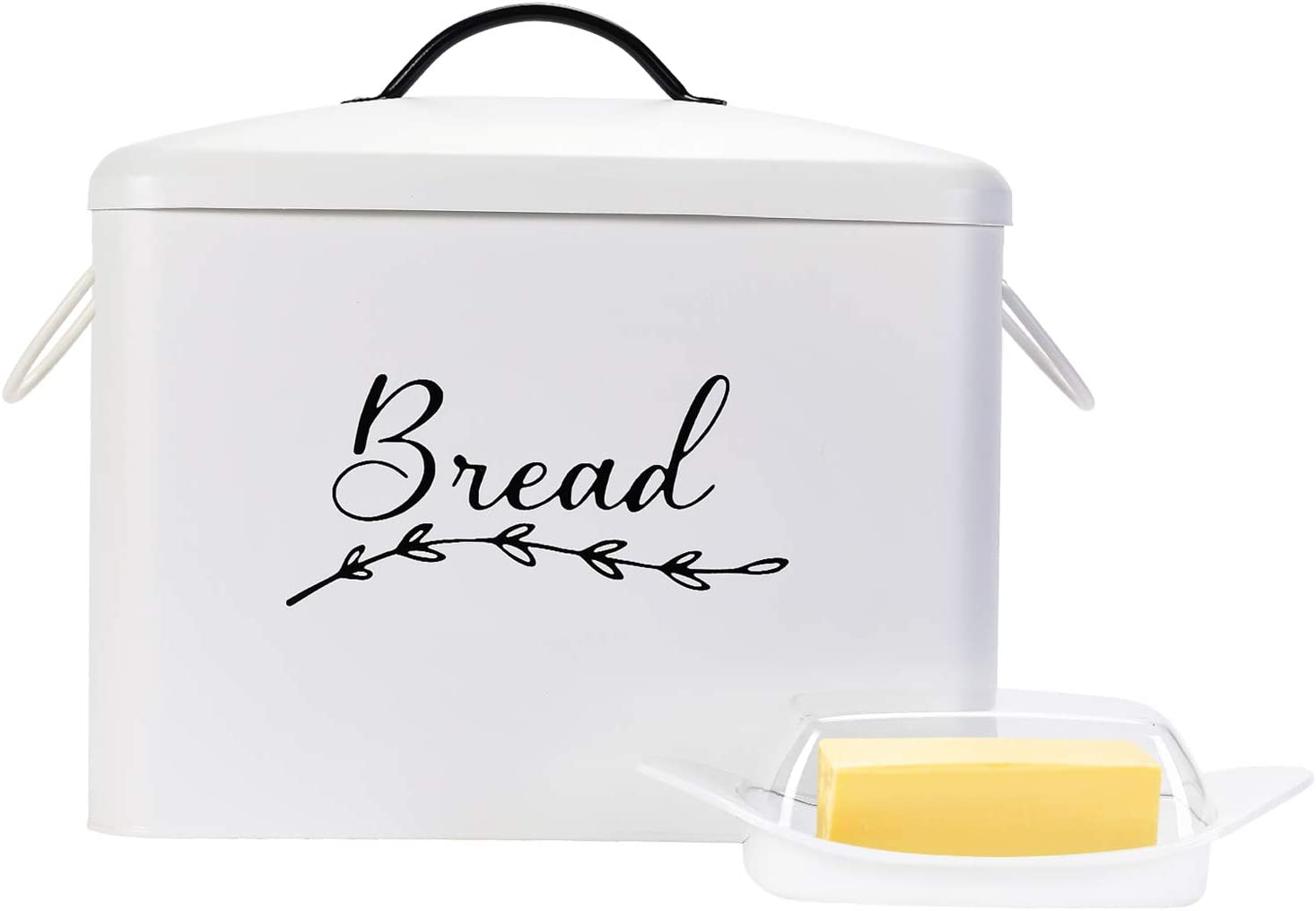 Home & Abode Bread Box For Kitchen Countertop – Large, White, Metal, With Handles – Farmhouse Decor