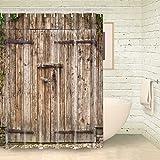 Vintage Wood Barn Door Shower Curtain by FOOG Rural Wooden Garage Door Waterproof Mildew Resistant Fabric White Gray Green (70'Wx78'L)