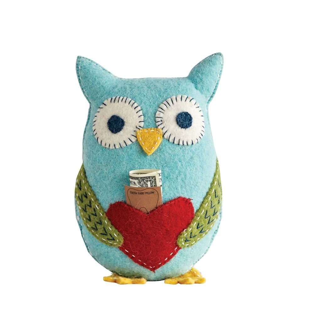 Creative Co-op Wool Owl Pillow with Pocket for Tooth Fairy, Blue by Creative Co-op
