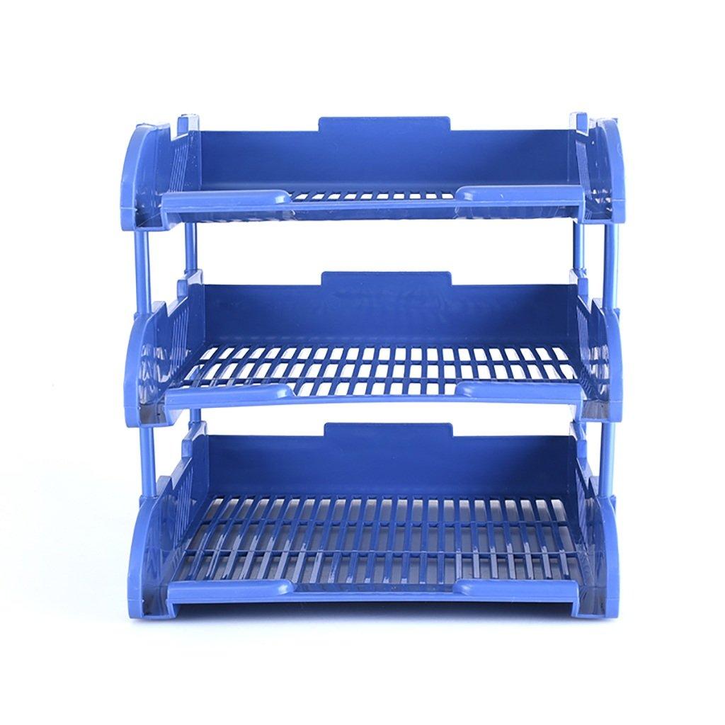 Color : Blue 3-Tier File Document Letter Paper Tray Sorter Collection Office Desktop Organizer Holder Shelf Desk Tidy Paper Document Office Organiser 33.625.522CM