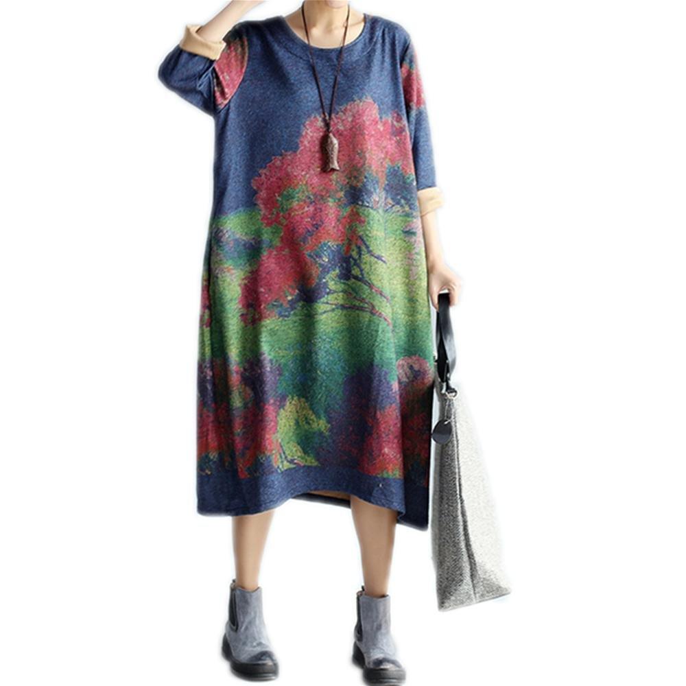 Nuan Jia Feng posicionamiento a largo grueso de algodón de manga larga vestido nacional del viento grandes de las nuevas mujeres de gran tamaño sueltos retro , red , average