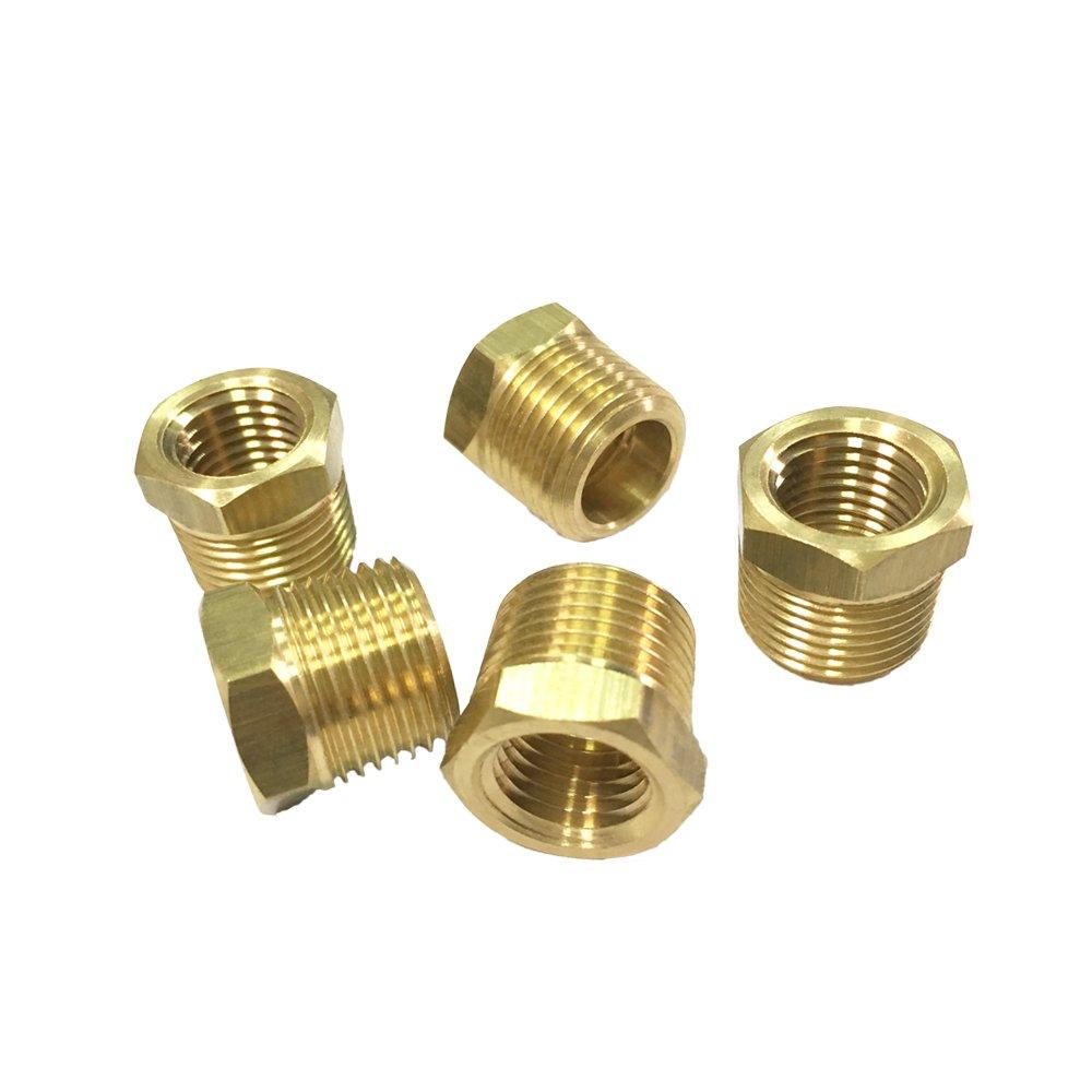 NIGO Brass Pipe Fitting, Hex Bushing (5, 3/8'' NPT Male x 1/4'' NPT Female)