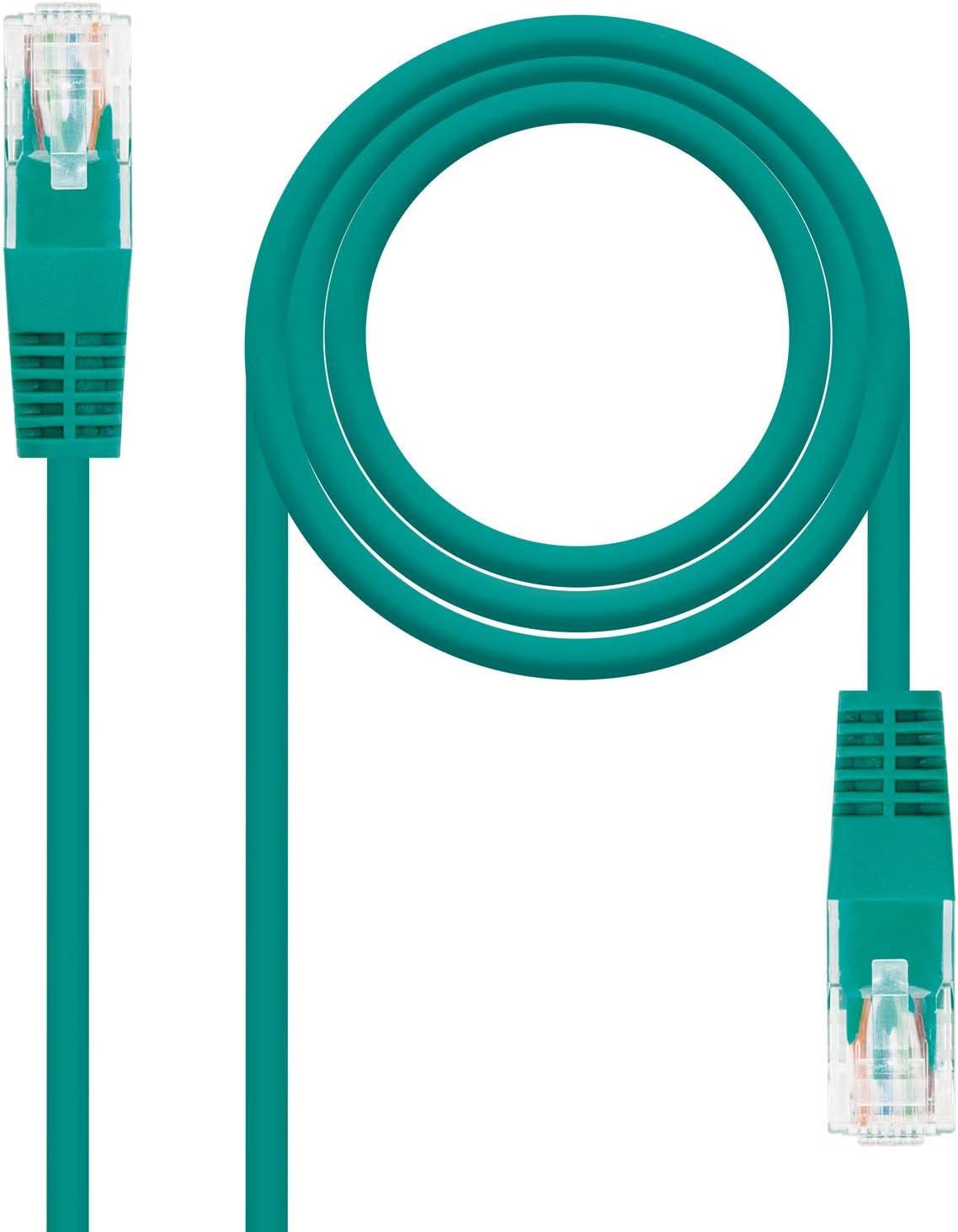 NANOCABLE 10.20.0100-Gr 0.5 MTS Verde Cavo di Rete Ethernet Rj45 Cat 5E Utp Awg24