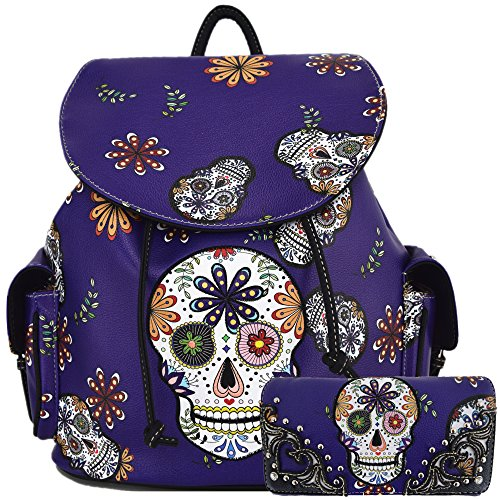 Sugar Skull Day of the Dead Daypack Concealed