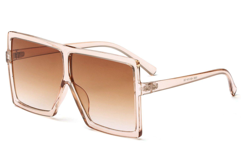 c43e430332 Galleon - GRFISIA Square Oversized Sunglasses For Women Men Flat Top  Fashion Shades (clear Orange tea Lens)