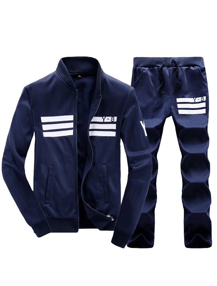 Lavnis Men's Casual Tracksuit Long Sleeve Running Jogging Athletic Sports Set Blue S by Lavnis