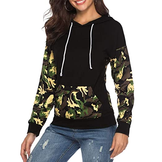 c3e3fc2e4cc Women Hoodies-Tops Camouflage Pullover Long Sleeve Sweatshirts with Pocket  (S, Black)