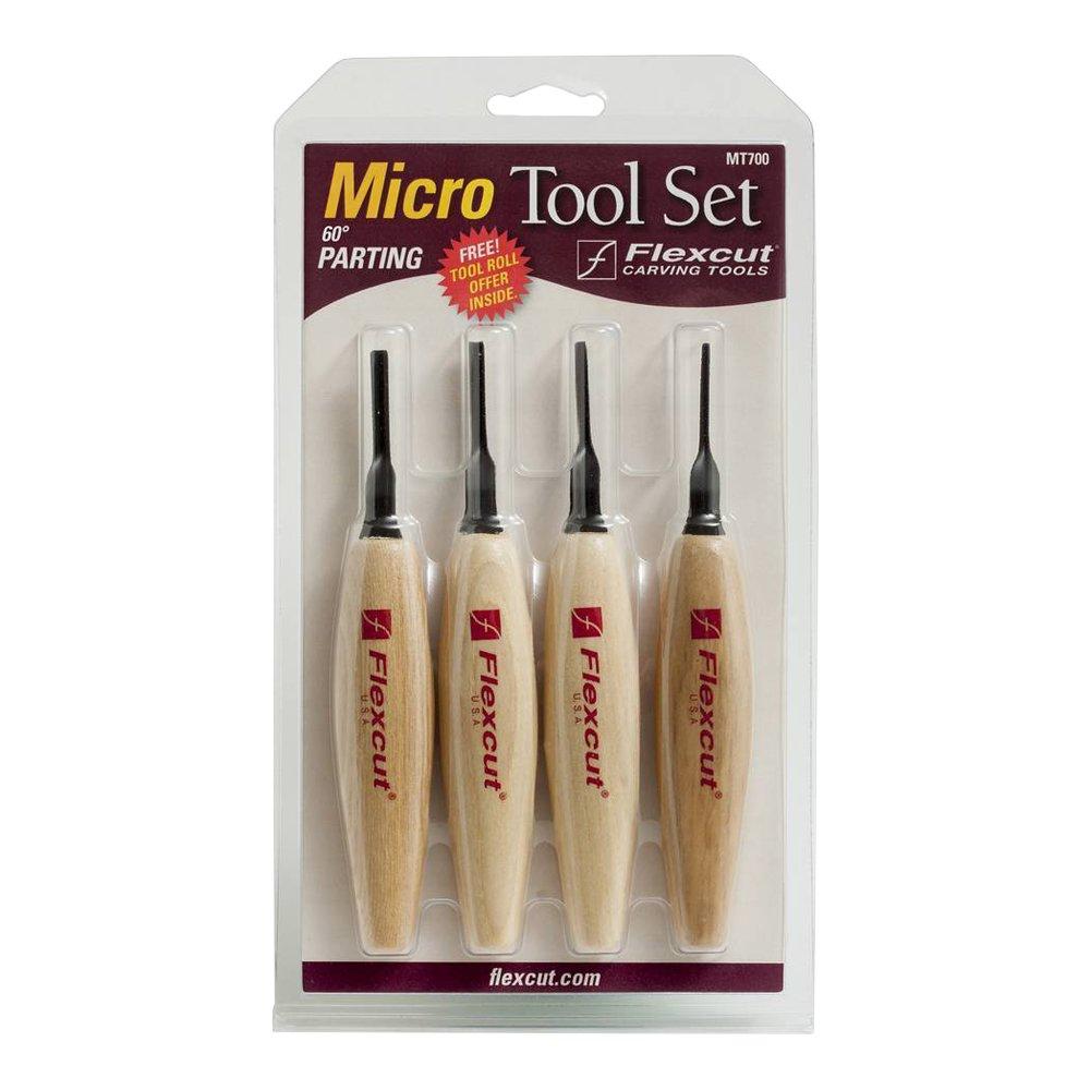 Flexcut Carving Tools, 60 Degree Parting Micro Tool Set, Razor Sharp High Carbon Steel Blades, Set of 4 (MT700) by Flexcut