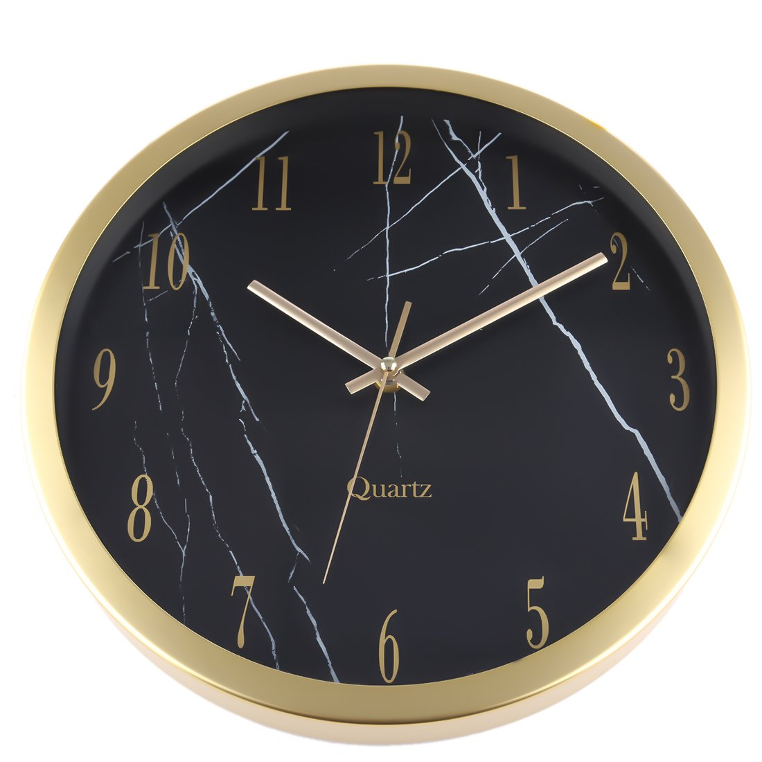 Foxom 12 Inch Modern Silent Wall Clock Non Ticking Bedroom Wall Clock with Aluminum Alloy Frame Golden Marble Texture Wall Clock