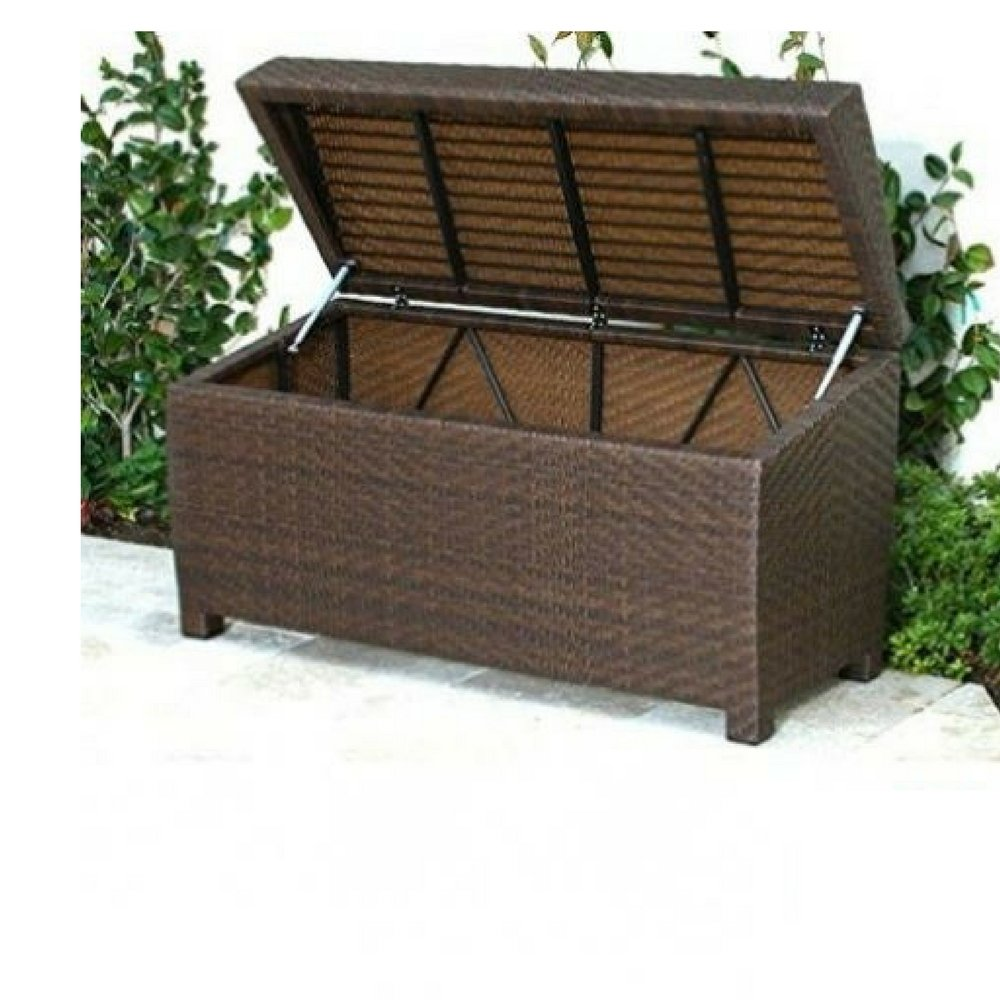 Wicker Storage Bench Outdoor Ottoman Patio Deck Cubby Garden Lift Top Storage Organizer Furniture & Ebook By Easy2Find.