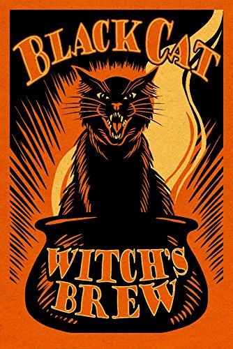 Halloween - Black Cat Witch's Brew (9x12 Art Print, Wall Decor Travel Poster)