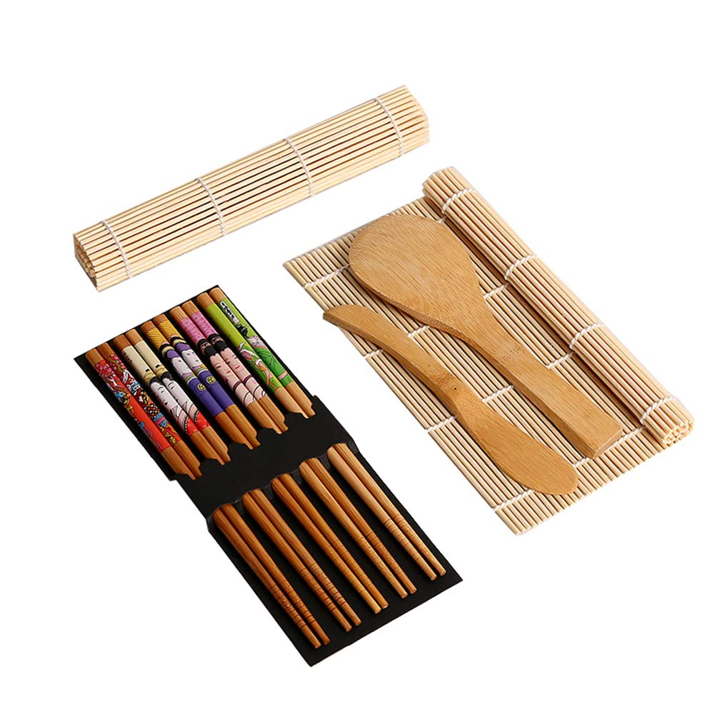 Carlie Bamboo Sushi Making Kit with 2 Rolling Mats - 5 Pairs Chopsticks - Rice Paddle - Rice Spreader - 100% Bamboo Sushi Mats and Sushi Maker Utensils