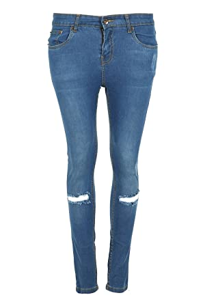 aff147fce1f Image Unavailable. Image not available for. Colour  Womens Ladies Regular Full  Ankle Length Knee Ribbed Cut Out Skinny Fit Denim ...