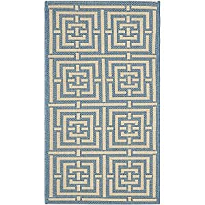 """Safavieh Courtyard Collection CY6937-23 Blue and Bone Indoor/ Outdoor Area Rug (2' x 3'7"""")"""