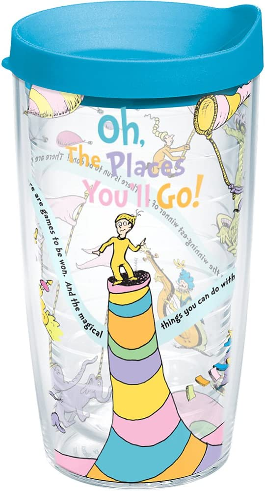 Tervis Dr. Seuss - Oh the Places You'll Go Tumbler with Wrap and Turquoise Lid 16oz, Clear