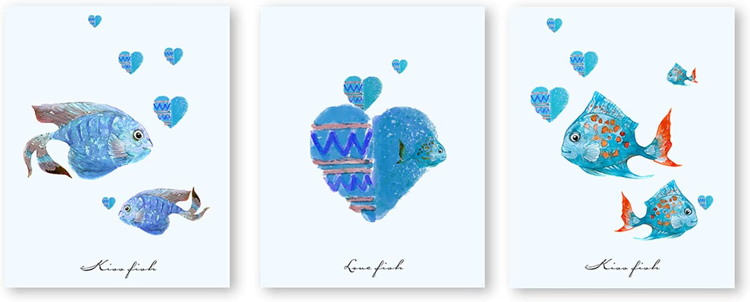 """suwenxia Abstract kiss Fish Canvas Art Print,Modern Minimalist Posters,Set of 3, Hand Painted Texture Typography Print Wall Art for Living Room Bedroom Home Decor,Unframed,8""""X10"""""""